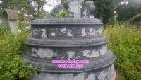 Mẫu mộ đá tròn tam cấp