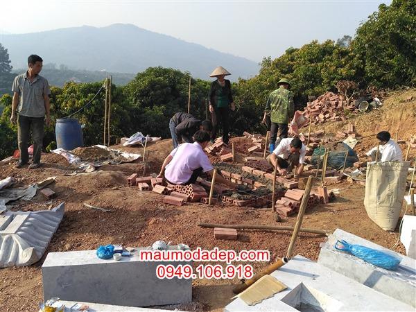 Xây móng mộ đá,kích thước xây móng mộ