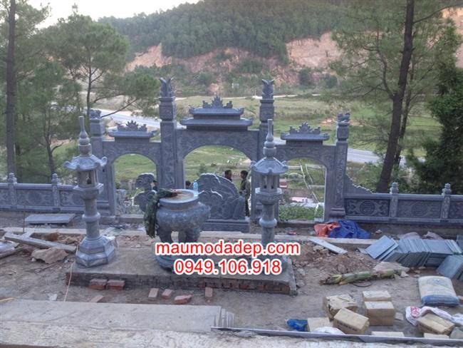 cổng tam quan đá,cong da,Mẫu cổng tam quan khu lăng mộ