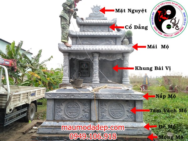 Mẫu mộ xây bằng đá đẹp 2018