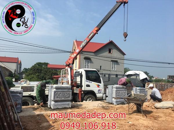 Lắp đặt cổng đình chùa đẹp nhất bằng đá tại Đồng Việt-Bắc Giang 01