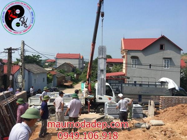Lắp đặt cổng đình chùa đẹp nhất bằng đá tại Đồng Việt-Bắc Giang 02