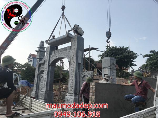 Lắp đặt cổng đình chùa đẹp nhất bằng đá tại Đồng Việt-Bắc Giang 03