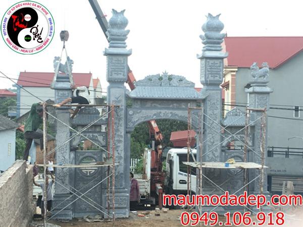 Lắp đặt cổng đình chùa đẹp nhất bằng đá tại Đồng Việt-Bắc Giang 04