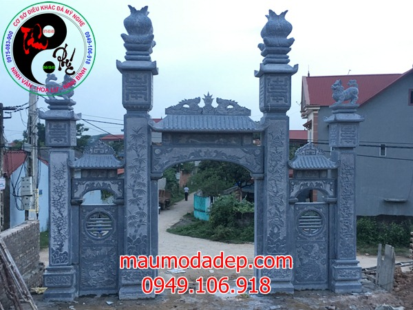Lắp đặt cổng đình chùa đẹp nhất bằng đá tại Đồng Việt-Bắc Giang 06