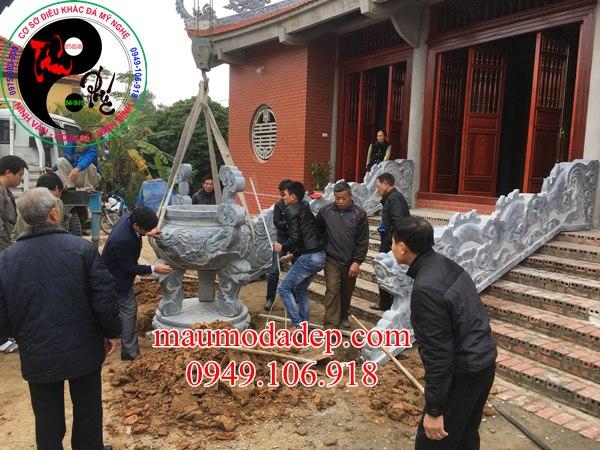 Lắp đặt tượng Rồng đá xanh phong thủy tại Chùa Cao - Bắc Giang