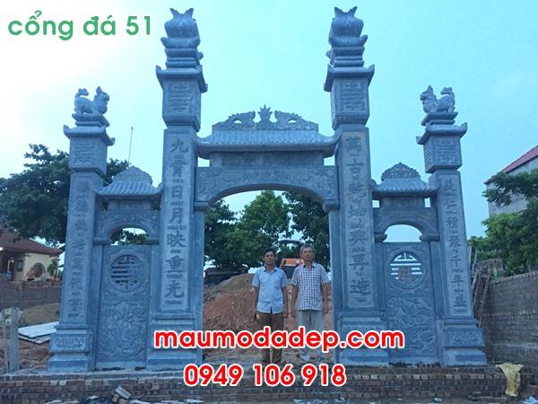 Cổng tam quan chùa đẹp bằng đá