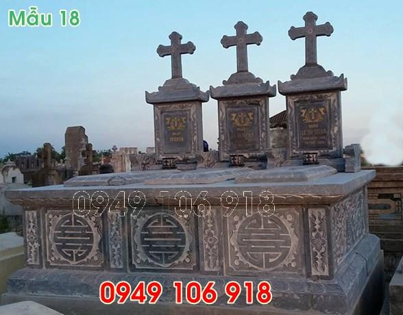 mẫu mộ công giáo đôi bằng đá năm 2019 -18