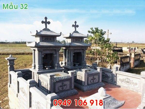 mẫu mộ công giáo đôi hai mái bằng đá năm 2019 - 32