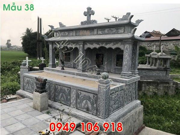 mẫu mộ công giáo đôi hai mái bằng đá năm 2019 - 38
