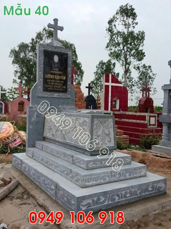 mẫu mộ công giáo tam cấp bằng đá năm 2019 - 40