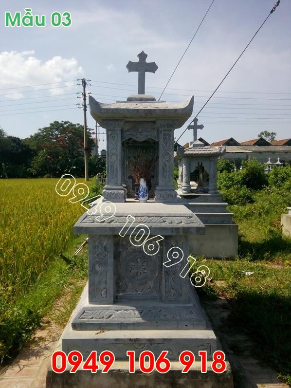 Mẫu mộ công giáo bằng đá đẹp nguyên khối giá rẻ