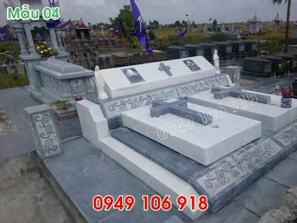 Mẫu mộ đôi công giáo bằng đá trắng đẹp