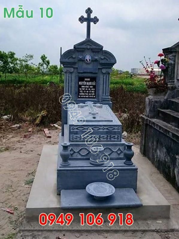 Mộ công giáo bằng đá tự nhiên lắp đặt tại hưng yên 10