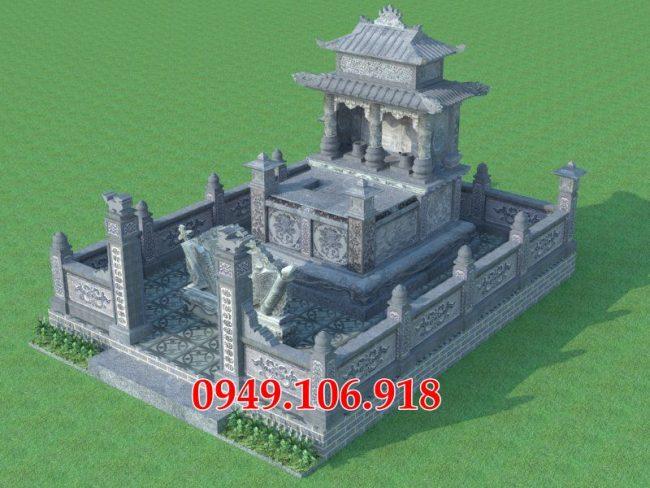 Bản vẽ phối cảnh thiết kế kích thước xây mộ đôi đá cho ông bà