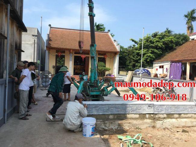 Xây dựng cột đồng trụ đá, bình phong đá nhà thờ họ 03