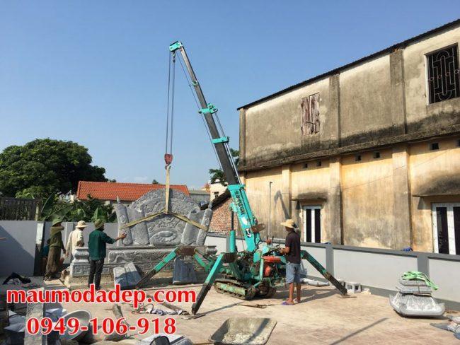 Xây dựng cột đồng trụ đá, bình phong đá nhà thờ họ 06