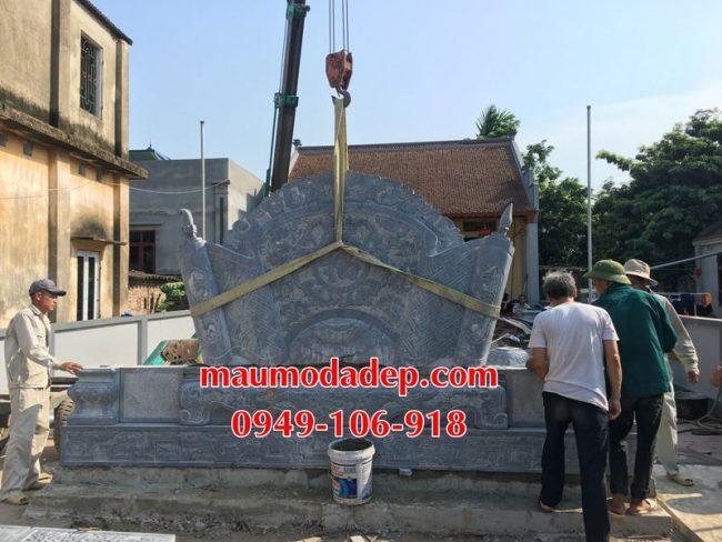 Xây dựng cột đồng trụ đá, bình phong đá nhà thờ họ 07