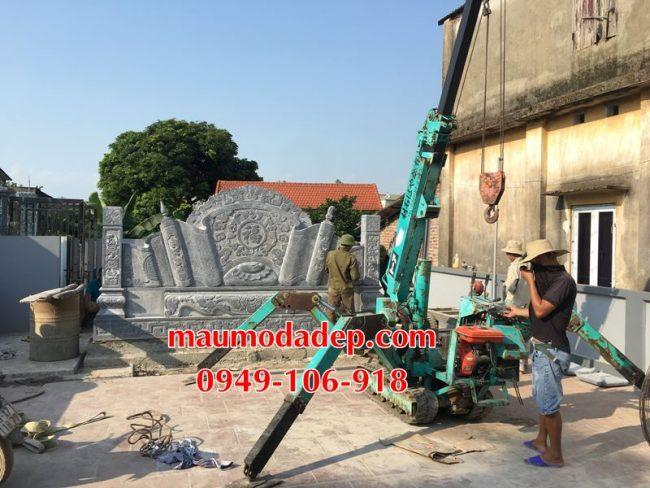Xây dựng cột đồng trụ đá, bình phong đá nhà thờ họ 08