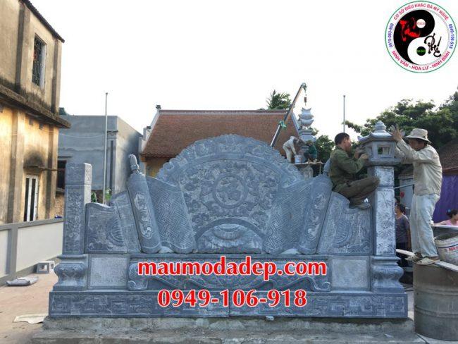 Xây dựng cột đồng trụ đá, bình phong đá nhà thờ họ 09