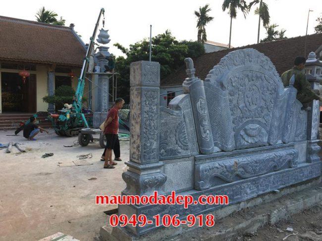 Xây dựng cột đồng trụ đá, bình phong đá nhà thờ họ 11