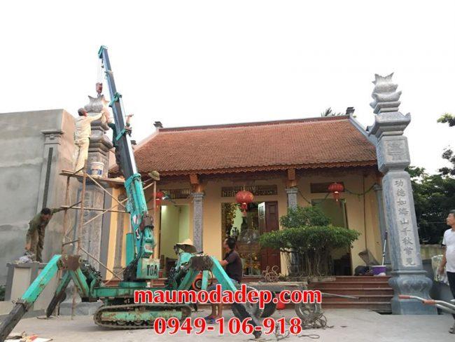 Xây dựng cột đồng trụ đá, bình phong đá nhà thờ họ 15