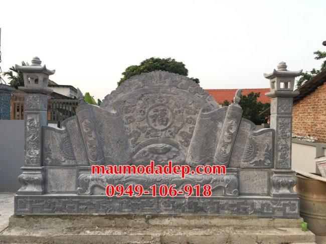 Xây dựng cột đồng trụ đá, bình phong đá nhà thờ họ 16