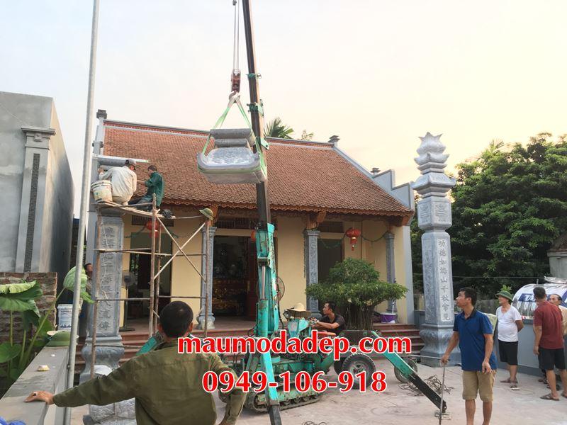Mẫu cột đồng trụ đá nhà thờ họ Bùi Văn xây dựng tại Hà Nội