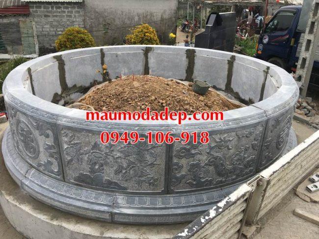 Xây mẫu mộ hình tròn đẹp bằng đá 4