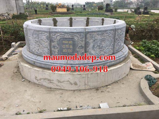 Xây mẫu mộ hình tròn đẹp bằng đá 5