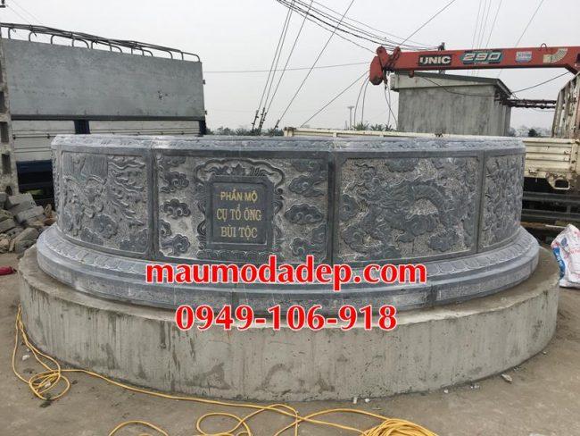Xây mẫu mộ hình tròn đẹp bằng đá 6