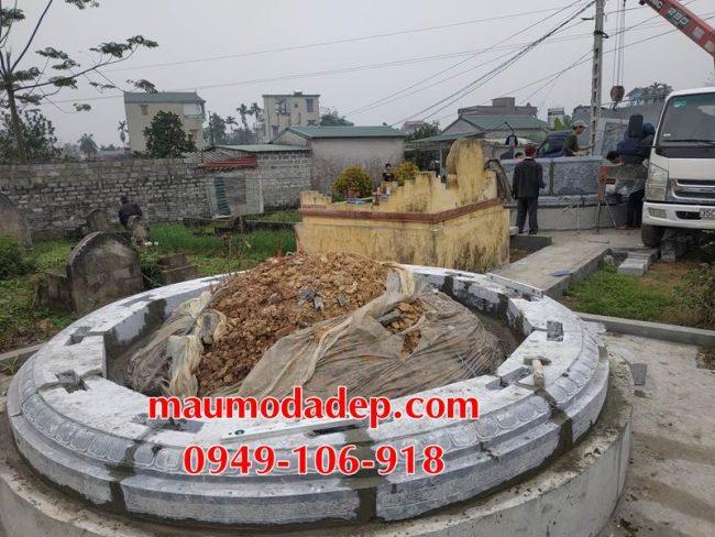 Xây mẫu mộ hình tròn đẹp bằng đá 7