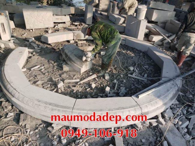 Xây mộ hình tròn đẹp bằng đá ninh bình 1