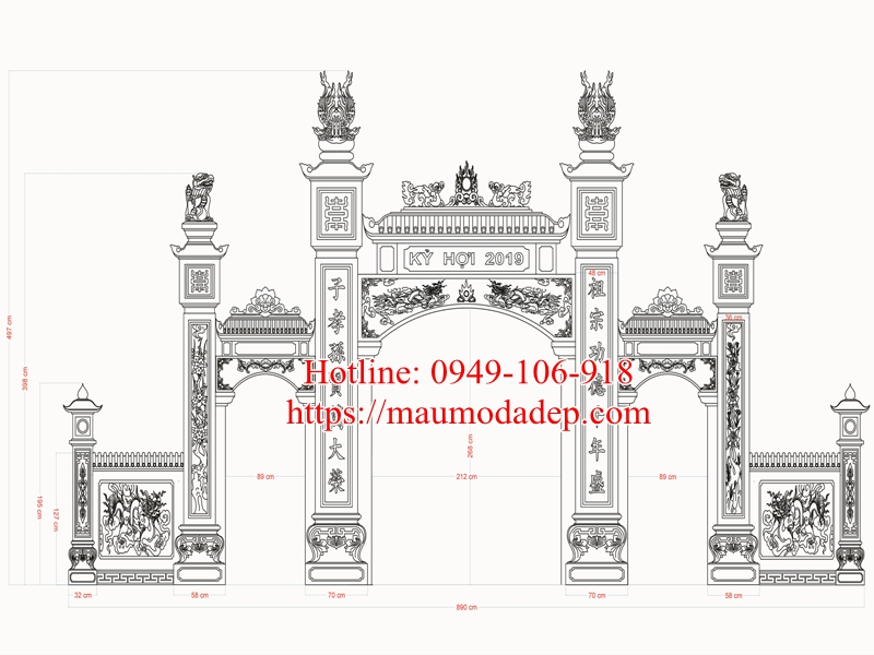 Bản vẽ cổng nhà thờ họ đẹp 01