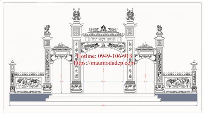 Bản vẽ cổng tam quan chùa 03