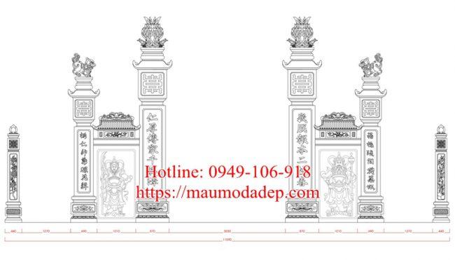 Bản vẽ thiết kế cổng đình làng 06a
