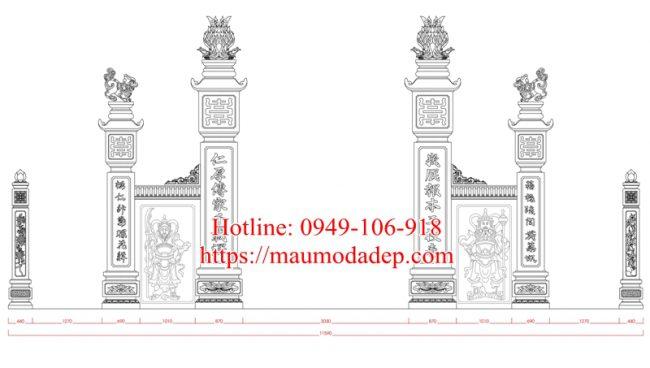 Bản vẽ thiết kế cổng đình làng 06b