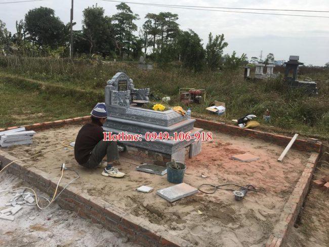 mẫu mộ tam cấp đá xây đẹp 02