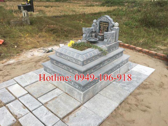 mẫu mộ tam cấp đá xây đẹp 09