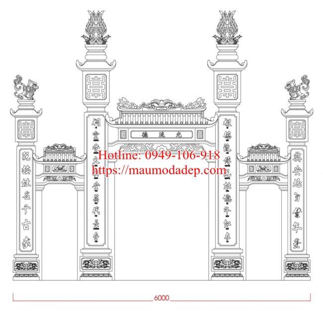 Bản vẽ mẫu cổng chùa đẹp 05