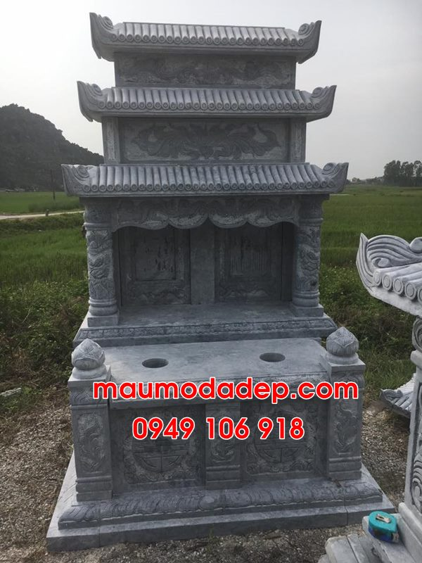 Mẫu mộ đôi xây đẹp đơn giản bằng đá