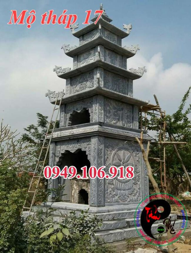 Mẫu mộ tháp phật giáo đẹp bằng đá 17