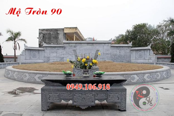 Lăng mộ hình tròn đẹp bằng đá 90