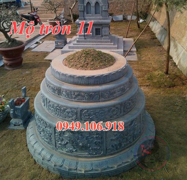 Mẫu mộ đá tròn đẹp bằng đá 11