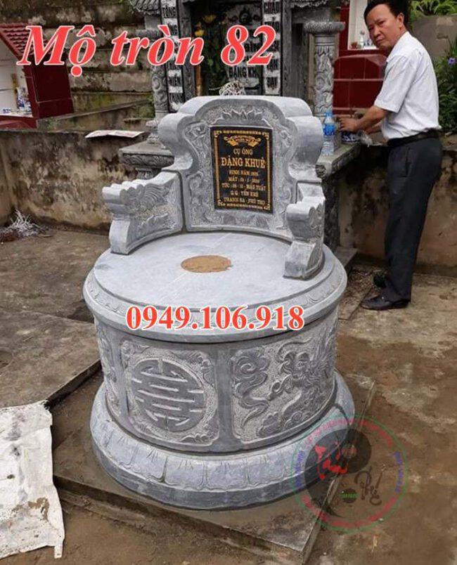 Mẫu mộ đá tròn đẹp bằng đá 82
