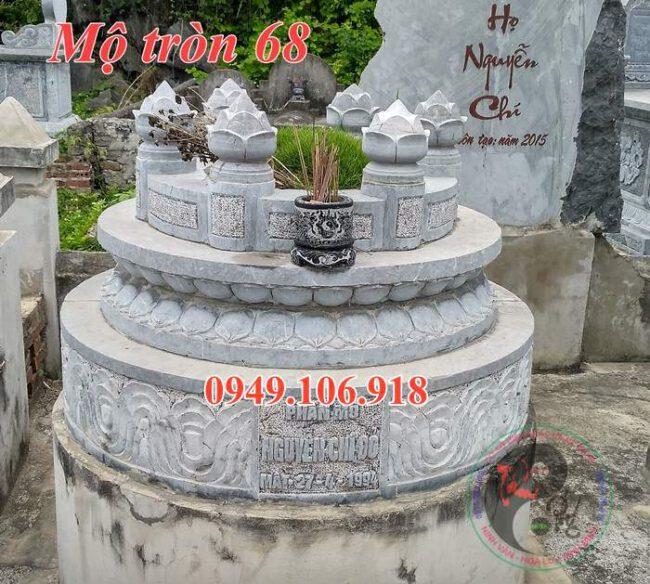 Mẫu mộ tròn phong thủy đẹp bằng đá 68