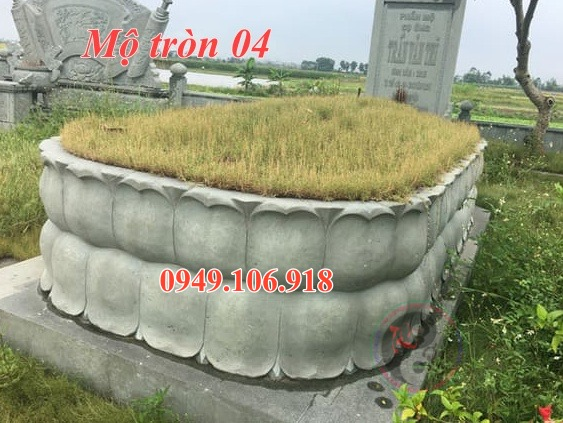 Mẫu mộ tròn xây gạch đẹp bằng đá 04