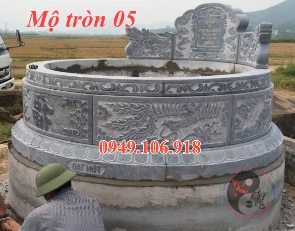 Mẫu mộ tròn xây gạch đẹp bằng đá 05
