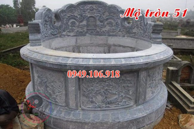 Mẫu mộ xây tròn đẹp bằng đá 51