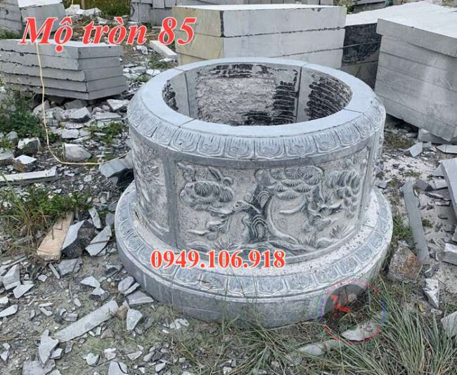 Mộ tròn phong thủy đẹp bằng đá 85